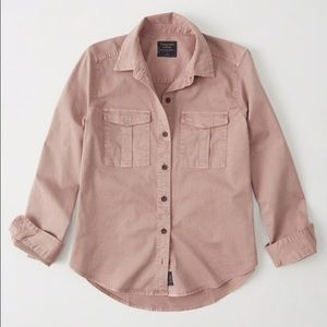 A&F pink button down